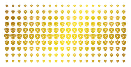 Electric guard icon golden halftone pattern. Vector electric guard symbols are arranged into halftone matrix with inclined golden gradient. Constructed for backgrounds, covers,