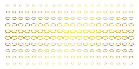 Ellipse bubble icon golden halftone pattern. Vector ellipse bubble symbols are organized into halftone matrix with inclined gold gradient. Constructed for backgrounds, covers, Иллюстрация
