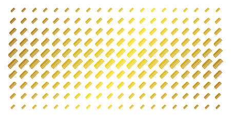 Comb icon gold colored halftone pattern. Vector comb symbols are arranged into halftone grid with inclined golden gradient. Constructed for backgrounds, covers, templates and abstract effects. Illustration