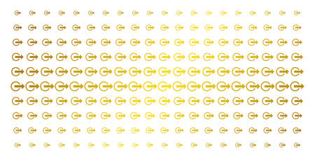 Logout icon golden halftone pattern. Vector logout items are organized into halftone grid with inclined gold gradient. Constructed for backgrounds, covers, templates and beautiful concepts. Illustration