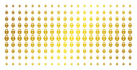 Heart lock icon gold halftone pattern. Vector heart lock objects are organized into halftone matrix with inclined gold color gradient. Designed for backgrounds, covers, templates and abstract effects. Ilustração