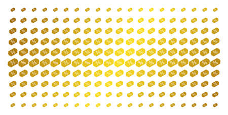 Discount tag icon gold colored halftone pattern. Vector discount tag pictograms are arranged into halftone grid with inclined gold color gradient. Designed for backgrounds, covers, Illustration