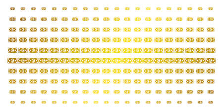 Euro banknote icon golden halftone pattern. Vector Euro banknote items are organized into halftone array with inclined gold gradient. Designed for backgrounds, covers, templates and luxury concepts.