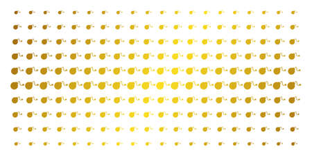 Bomb icon gold colored halftone pattern. Vector bomb items are arranged into halftone grid with inclined gold gradient. Constructed for backgrounds, covers, templates and abstract compositions.
