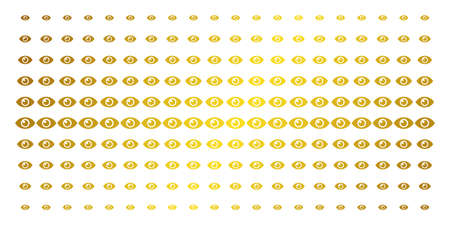 Eye icon golden halftone pattern. Vector eye shapes are arranged into halftone matrix with inclined golden gradient. Designed for backgrounds, covers, templates and luxury effects.