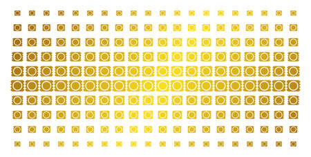 Condom package icon gold halftone pattern. Vector condom package items are arranged into halftone matrix with inclined gold color gradient. Designed for backgrounds, covers,