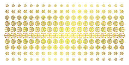 Globe icon gold halftone pattern. Vector globe symbols are organized into halftone array with inclined gold gradient. Designed for backgrounds, covers, templates and bright concepts.