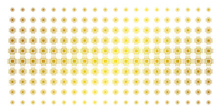 Processor icon golden halftone pattern. Vector processor items are organized into halftone matrix with inclined gold color gradient. Constructed for backgrounds, covers,