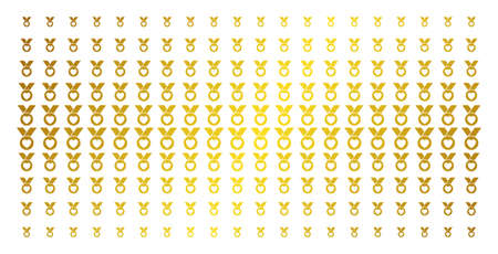 Care award icon gold colored halftone pattern. Vector care award pictograms are arranged into halftone grid with inclined gold color gradient. Constructed for backgrounds, covers,