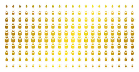 Vial icon golden halftone pattern. Vector vial pictograms are organized into halftone grid with inclined gold color gradient. Designed for backgrounds, covers, templates and bright compositions.