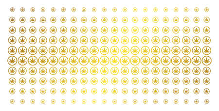 Cannabis icon gold halftone pattern. Vector cannabis items are organized into halftone array with inclined gold color gradient. Constructed for backgrounds, covers, templates and bright concepts.