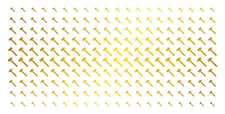 Hammer icon golden halftone pattern. Vector hammer objects are arranged into halftone array with inclined golden gradient. Constructed for backgrounds, covers, templates and beautiful compositions.