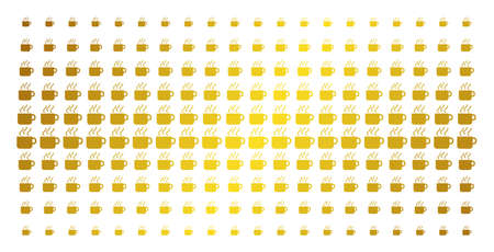 Coffee cup icon gold colored halftone pattern. Vector coffee cup shapes are organized into halftone matrix with inclined gold gradient. Designed for backgrounds, covers, templates and bright effects.