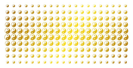 Yin yang icon gold halftone pattern. Vector yin yang pictograms are organized into halftone grid with inclined gold color gradient. Designed for backgrounds, covers, templates and luxury concepts.