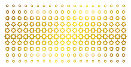 Gear icon golden halftone pattern. Vector gear pictograms are arranged into halftone array with inclined gold color gradient. Constructed for backgrounds, covers, templates and abstract effects. Illustration