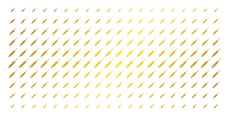 Syringe icon gold colored halftone pattern. Vector syringe shapes are organized into halftone array with inclined gold gradient. Constructed for backgrounds, covers, templates and beautiful effects.