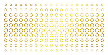 Ruby ring icon gold halftone pattern. Vector ruby ring pictograms are arranged into halftone matrix with inclined golden gradient. Designed for backgrounds, covers, templates and luxury concepts. Ilustrace