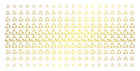Recycle triangle icon gold colored halftone pattern. Vector recycle triangle items are arranged into halftone grid with inclined golden gradient. Constructed for backgrounds, covers,