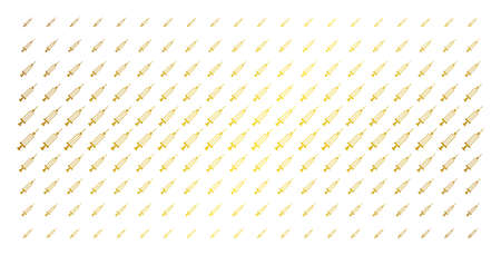 Syringe icon gold halftone pattern. Vector syringe objects are organized into halftone matrix with inclined gold color gradient. Constructed for backgrounds, covers, templates and luxury effects. Ilustração