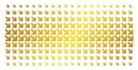 Arrow down right icon golden halftone pattern. Vector arrow down right items are organized into halftone array with inclined golden gradient. Designed for backgrounds, covers,