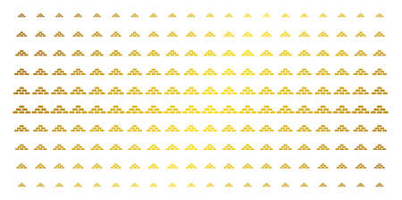 Treasure bricks icon gold halftone pattern. Vector treasure bricks shapes are arranged into halftone matrix with inclined golden gradient. Constructed for backgrounds, covers,