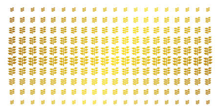 Flora plant icon golden halftone pattern. Vector flora plant pictograms are organized into halftone array with inclined golden gradient. Constructed for backgrounds, covers,