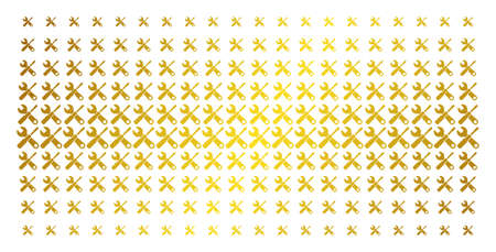 Tools icon golden halftone pattern. Vector tools symbols are organized into halftone matrix with inclined golden gradient. Constructed for backgrounds, covers, templates and bright compositions.