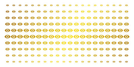 Eye icon gold colored halftone pattern. Vector eye symbols are organized into halftone matrix with inclined gold gradient. Constructed for backgrounds, covers, templates and luxury effects.