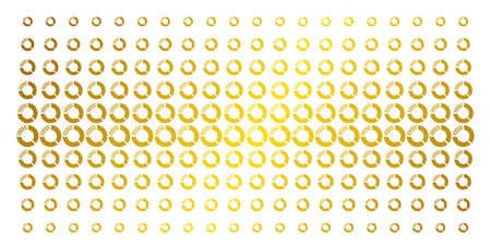 Pie chart icon gold halftone pattern. Vector pie chart items are organized into halftone grid with inclined gold gradient. Designed for backgrounds, covers, templates and luxury effects.