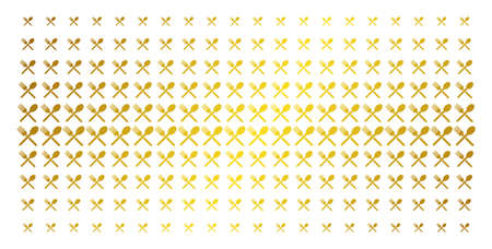 Fork and spoon icon gold halftone pattern. Vector fork and spoon objects are arranged into halftone matrix with inclined gold color gradient. Constructed for backgrounds, covers,