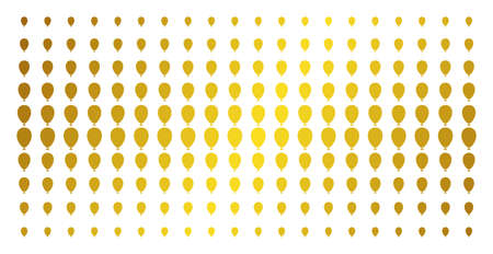 Celebration balloon icon golden halftone pattern. Vector celebration balloon symbols are organized into halftone array with inclined gold gradient. Constructed for backgrounds, covers, Ilustração