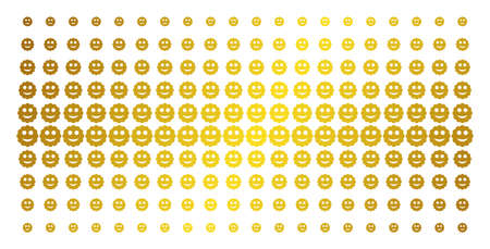 Smiled sticker icon golden halftone pattern. Vector smiled sticker pictograms are arranged into halftone grid with inclined gold gradient. Constructed for backgrounds, covers,