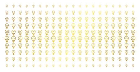 Electric bulb icon golden halftone pattern. Vector electric bulb pictograms are arranged into halftone matrix with inclined gold color gradient. Constructed for backgrounds, covers,