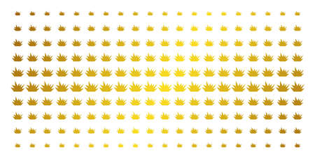 Boom explosion icon gold halftone pattern. Vector boom explosion pictograms are organized into halftone array with inclined gold gradient. Designed for backgrounds, covers,