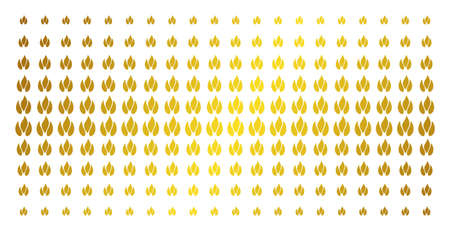 Fire icon golden halftone pattern. Vector fire shapes are organized into halftone array with inclined golden gradient. Designed for backgrounds, covers, templates and abstract effects. Illustration