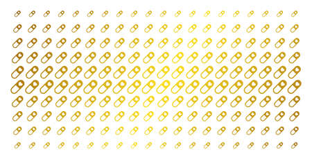 Love granule icon gold colored halftone pattern. Vector love granule items are organized into halftone array with inclined gold gradient. Designed for backgrounds, covers, Illustration