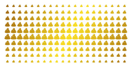 Shit icon gold colored halftone pattern. Vector shit shapes are organized into halftone grid with inclined gold gradient. Designed for backgrounds, covers, templates and abstract compositions.
