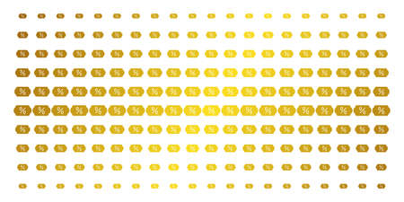 Discount tag icon golden halftone pattern. Vector discount tag shapes are organized into halftone grid with inclined gold color gradient. Designed for backgrounds, covers,