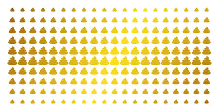 Crap icon gold colored halftone pattern. Vector crap symbols are organized into halftone array with inclined gold color gradient. Designed for backgrounds, covers, templates and luxury effects.