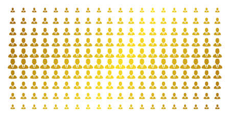 Businessman icon golden halftone pattern. Vector businessman pictograms are arranged into halftone array with inclined gold gradient. Designed for backgrounds, covers,