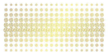 Drone screw rotation icon gold halftone pattern. Vector drone screw rotation symbols are arranged into halftone matrix with inclined golden gradient. Constructed for backgrounds, covers, Illustration
