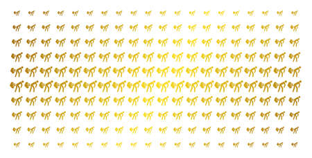 Fart gases icon golden halftone pattern. Vector fart gases items are arranged into halftone array with inclined gold gradient. Designed for backgrounds, covers, templates and luxury concepts.