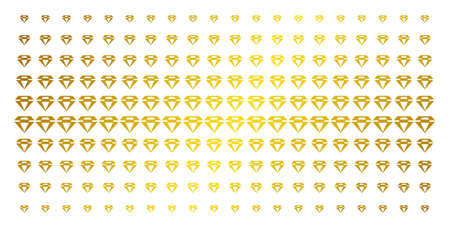 Diamond icon gold colored halftone pattern. Vector diamond items are organized into halftone grid with inclined gold gradient. Designed for backgrounds, covers, templates and luxury compositions. Illustration