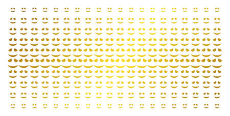 Embarrassed smile icon gold halftone pattern. Vector embarrassed smile shapes are arranged into halftone array with inclined golden gradient. Designed for backgrounds, covers, Illustration