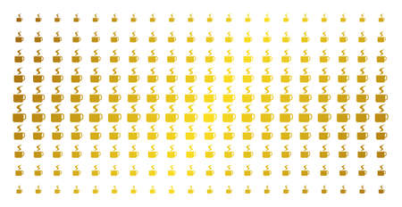 Hot coffee cup icon gold colored halftone pattern. Vector hot coffee cup items are arranged into halftone array with inclined gold color gradient. Constructed for backgrounds, covers,