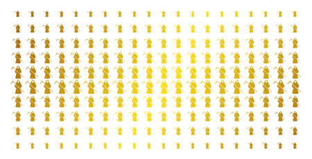 Death scytheman icon gold colored halftone pattern. Vector death scytheman symbols are organized into halftone matrix with inclined gold color gradient. Designed for backgrounds, covers,