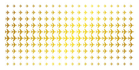 Jet plane icon gold colored halftone pattern. Vector jet plane objects are arranged into halftone array with inclined golden gradient. Constructed for backgrounds, covers, Illustration