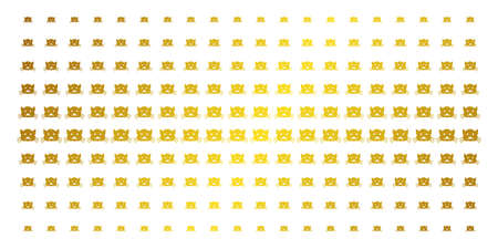 Kitty icon gold halftone pattern. Vector kitty pictograms are arranged into halftone matrix with inclined golden gradient. Constructed for backgrounds, covers, templates and beautiful concepts.