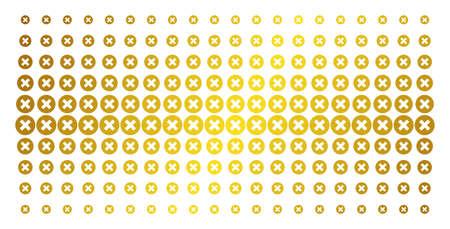 Cancel icon gold halftone pattern. Vector cancel objects are arranged into halftone matrix with inclined golden gradient. Designed for backgrounds, covers, templates and luxury effects.