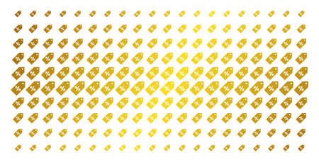 Discount tag icon gold colored halftone pattern. Vector discount tag items are arranged into halftone array with inclined golden gradient. Constructed for backgrounds, covers,